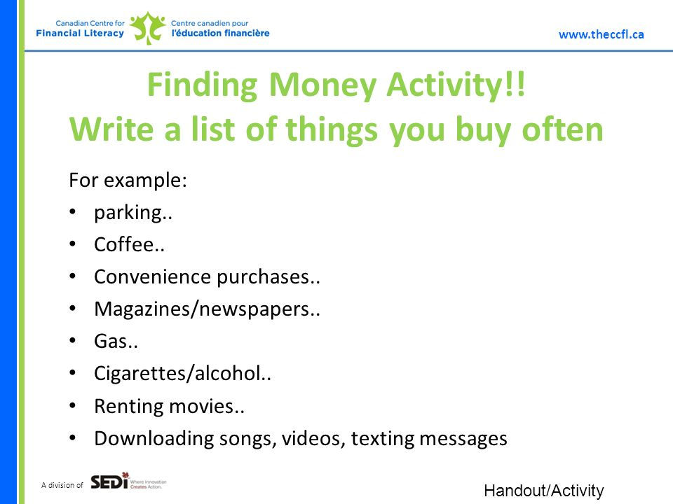 A division of Finding Money Activity!.