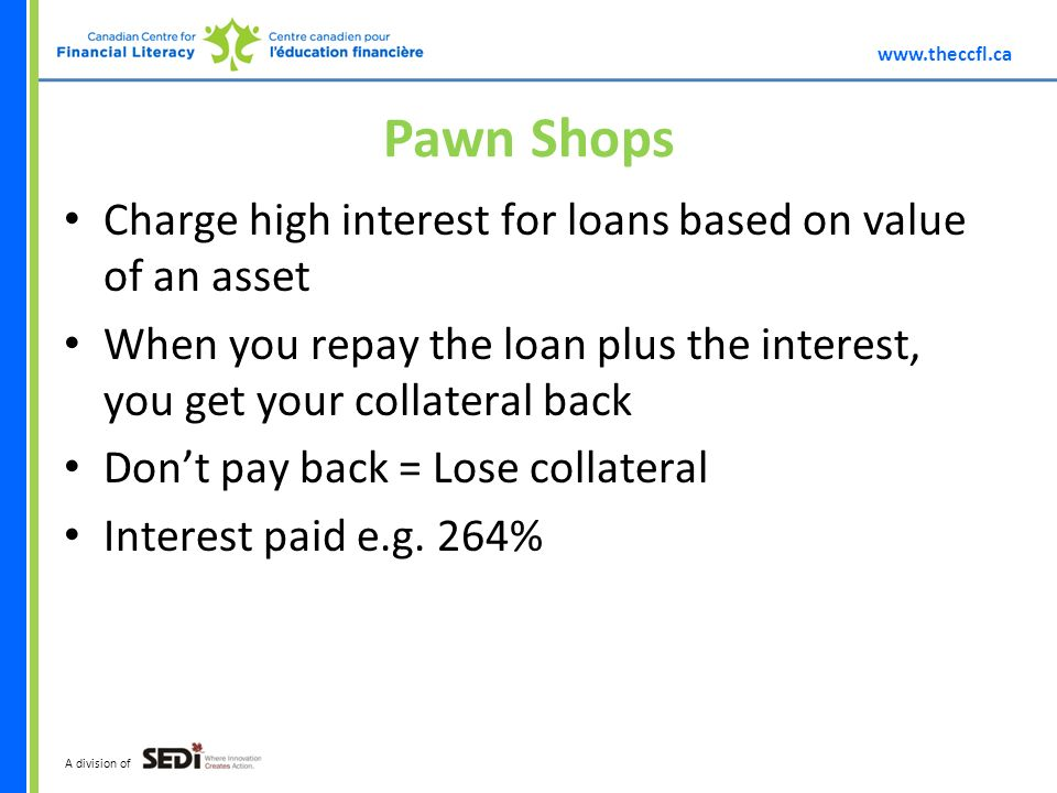 A division of Pawn Shops Charge high interest for loans based on value of an asset When you repay the loan plus the interest, you get your collateral back Dont pay back = Lose collateral Interest paid e.g.