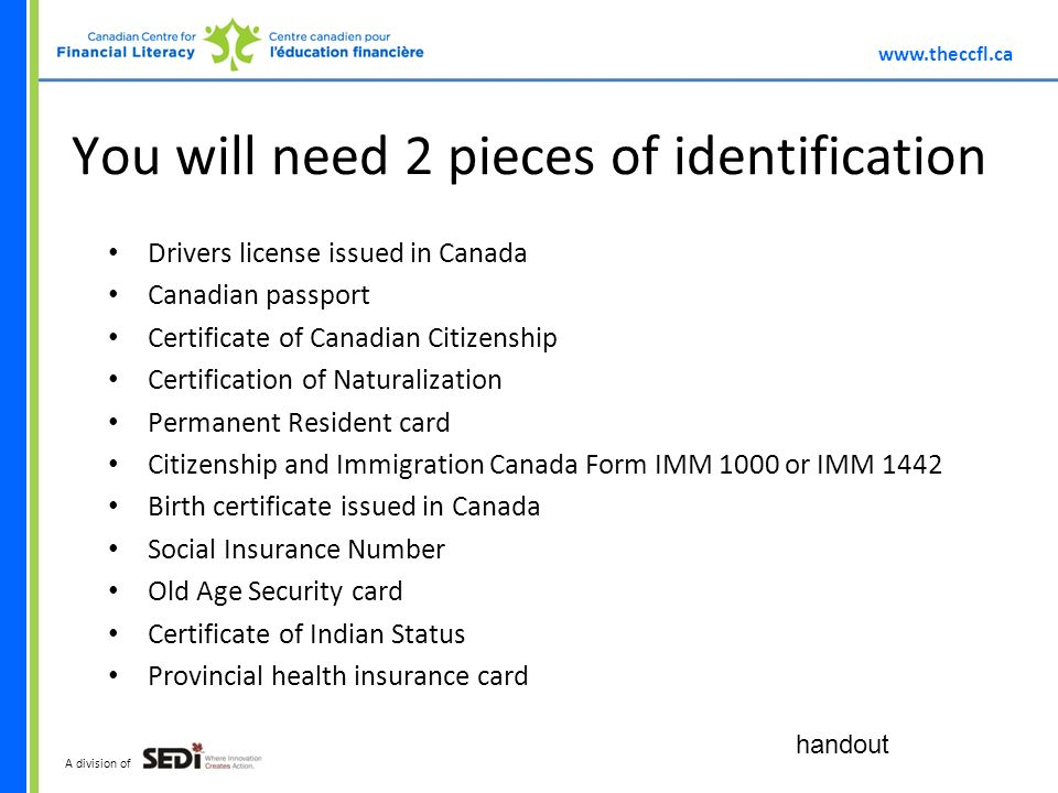 A division of You will need 2 pieces of identification Drivers license issued in Canada Canadian passport Certificate of Canadian Citizenship Certification of Naturalization Permanent Resident card Citizenship and Immigration Canada Form IMM 1000 or IMM 1442 Birth certificate issued in Canada Social Insurance Number Old Age Security card Certificate of Indian Status Provincial health insurance card handout