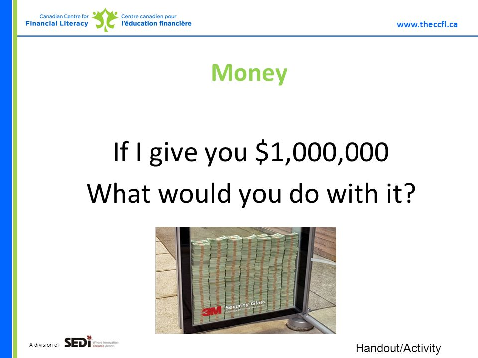 A division of Money If I give you $1,000,000 What would you do with it.