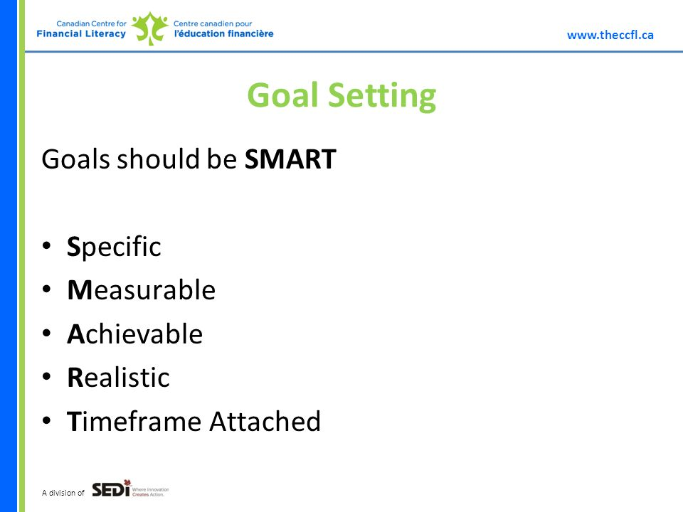 A division of Goal Setting Goals should be SMART Specific Measurable Achievable Realistic Timeframe Attached