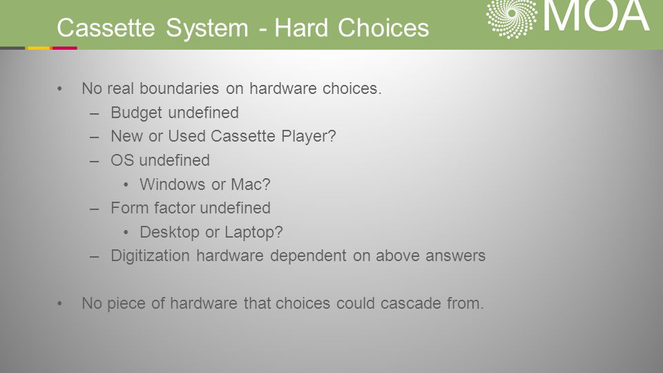 Cassette System - Hard Choices No real boundaries on hardware choices. –Budget undefined –New or Used Cassette Player? –OS undefined Windows or Mac? –