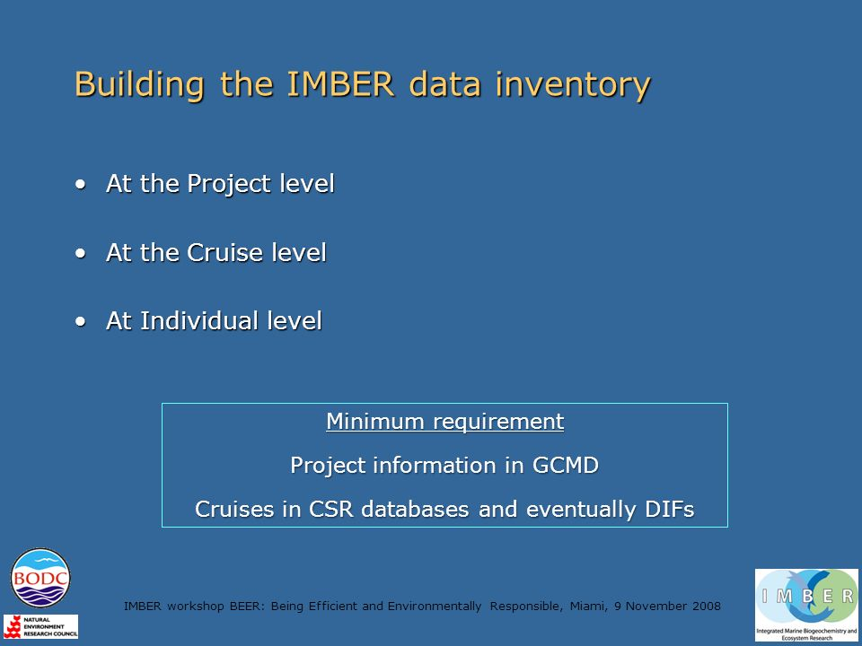 IMBER workshop BEER: Being Efficient and Environmentally Responsible, Miami, 9 November 2008 Building the IMBER data inventory At the Project levelAt the Project level At the Cruise levelAt the Cruise level At Individual levelAt Individual level Minimum requirement Project information in GCMD Cruises in CSR databases and eventually DIFs