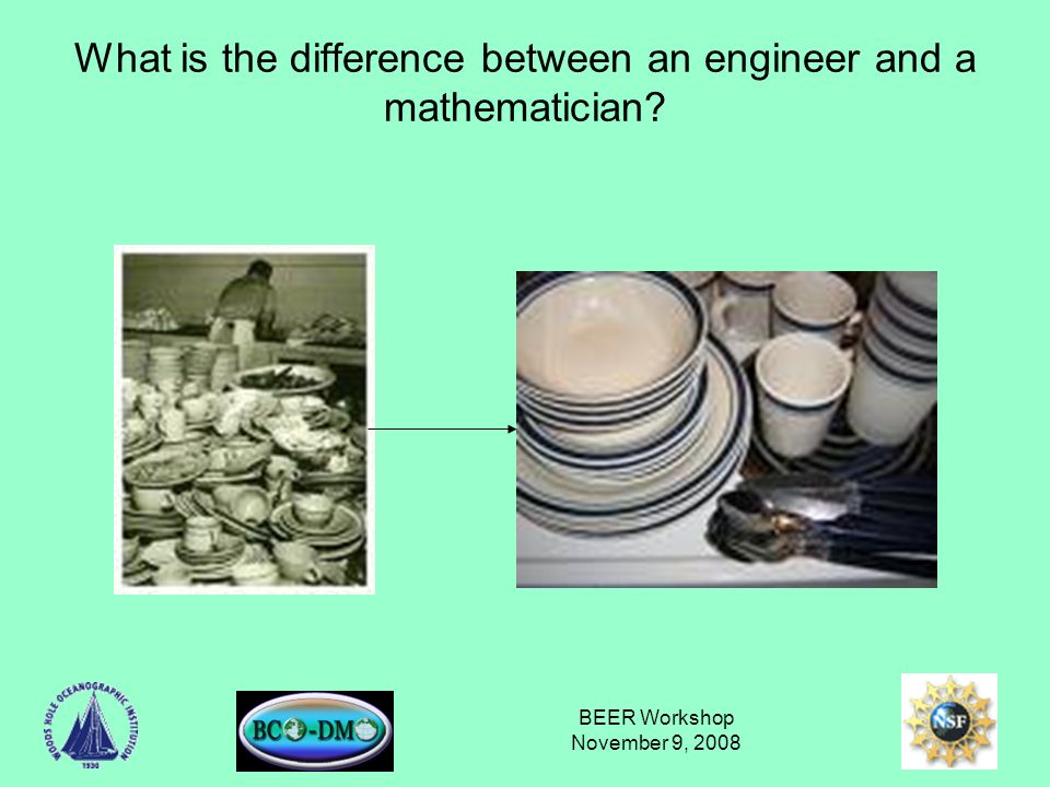 BEER Workshop November 9, 2008 What is the difference between an engineer and a mathematician