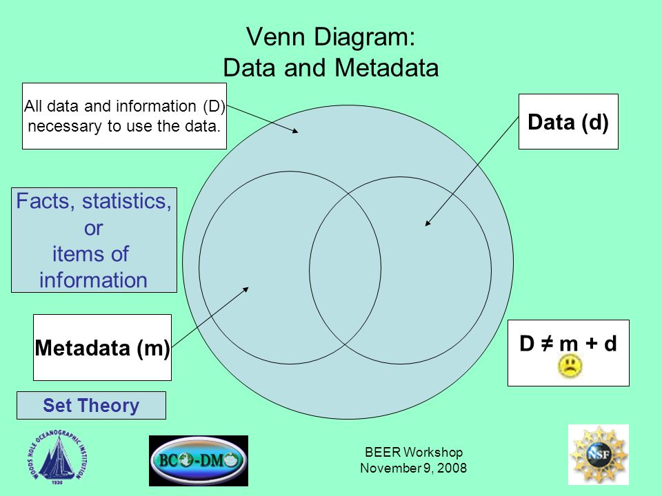 BEER Workshop November 9, 2008 Venn Diagram: Data and Metadata All data and information (D) necessary to use the data.