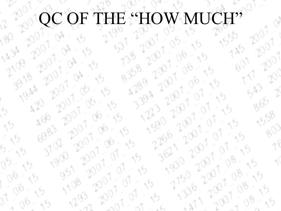 QC OF THE HOW MUCH