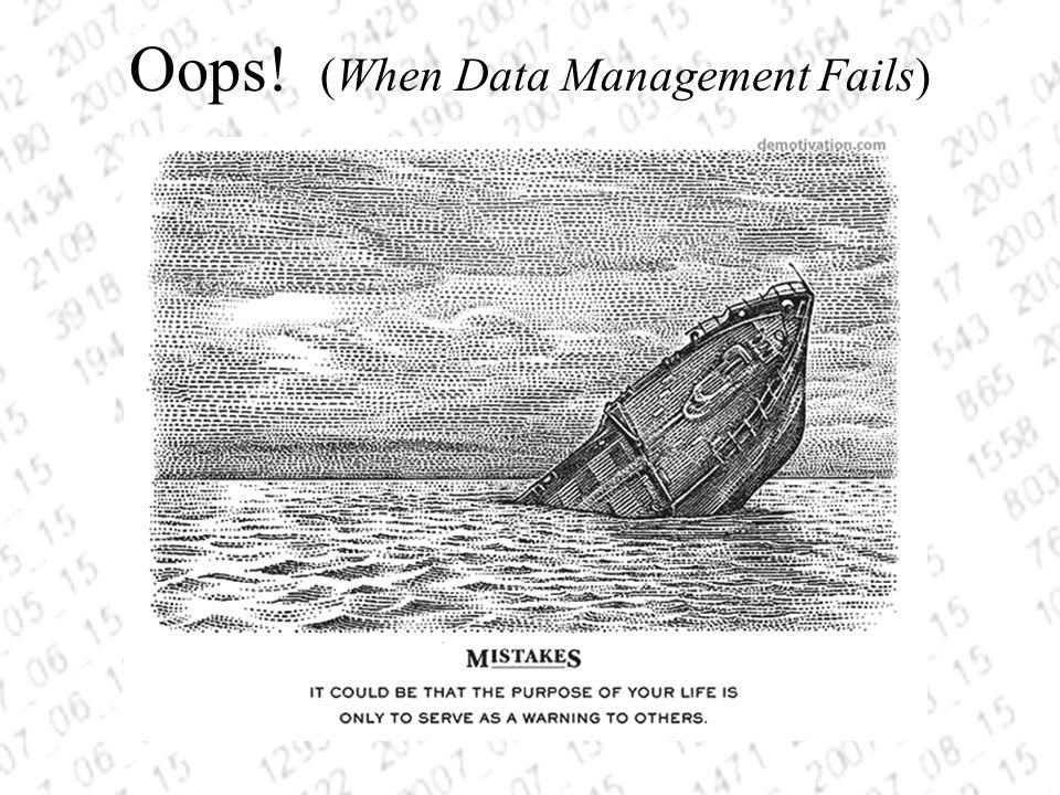 Oops! (When Data Management Fails)