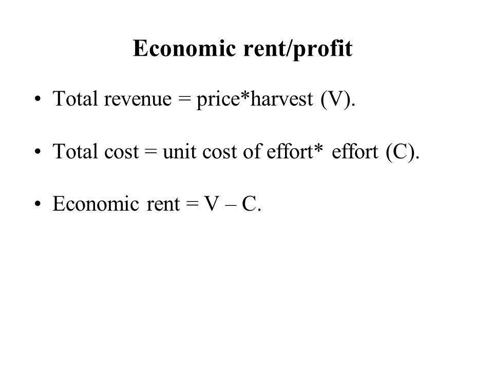 Economic rent/profit Total revenue = price*harvest (V). Total cost = unit cost of effort* effort (C). Economic rent = V – C.