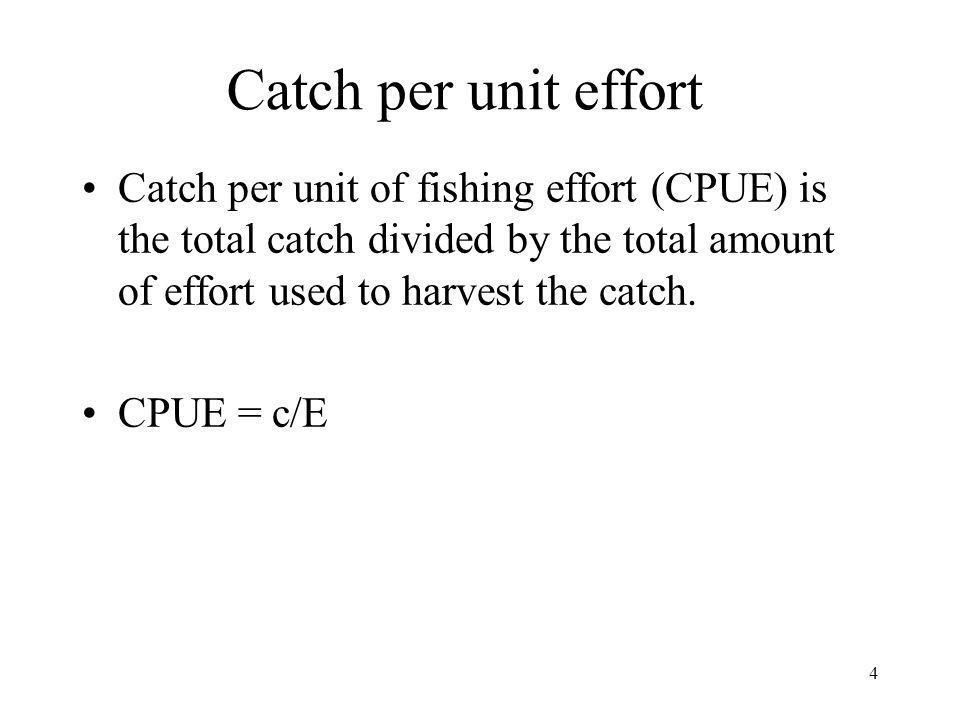 4 Catch per unit of fishing effort (CPUE) is the total catch divided by the total amount of effort used to harvest the catch. CPUE = c/E Catch per uni