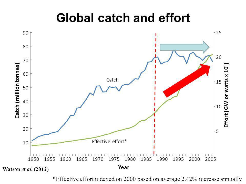 Global catch and effort *Effective effort indexed on 2000 based on average 2.42% increase annually Effort (GW or watts x 10 9 ) Catch (million tonnes)
