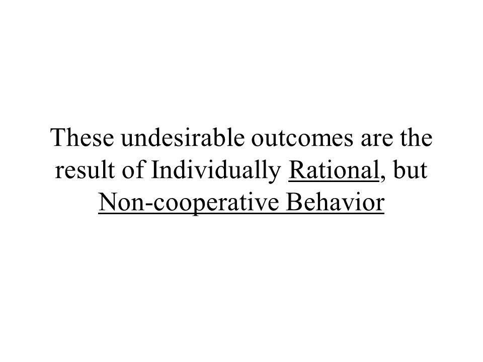 These undesirable outcomes are the result of Individually Rational, but Non-cooperative Behavior