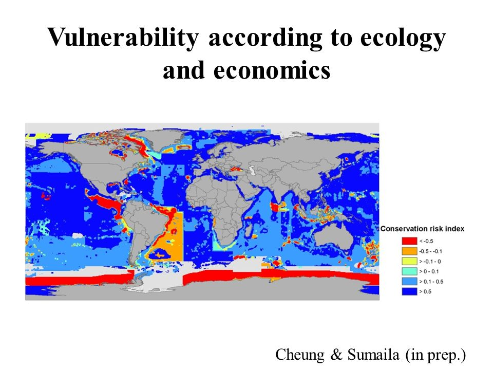 Vulnerability according to ecology and economics Sumaila, Cheung et al.