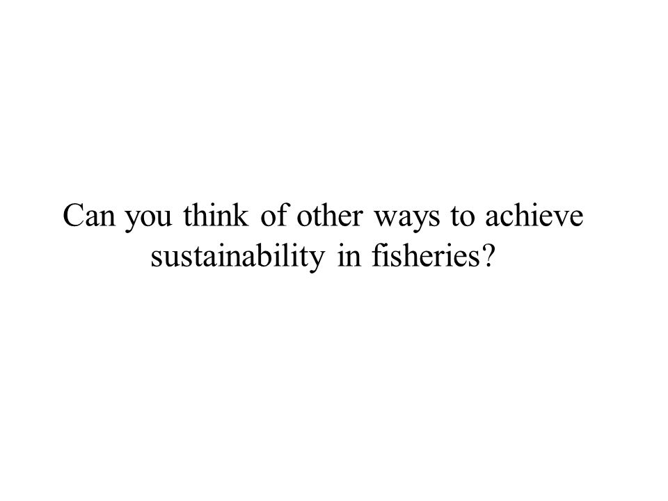 Can you think of other ways to achieve sustainability in fisheries