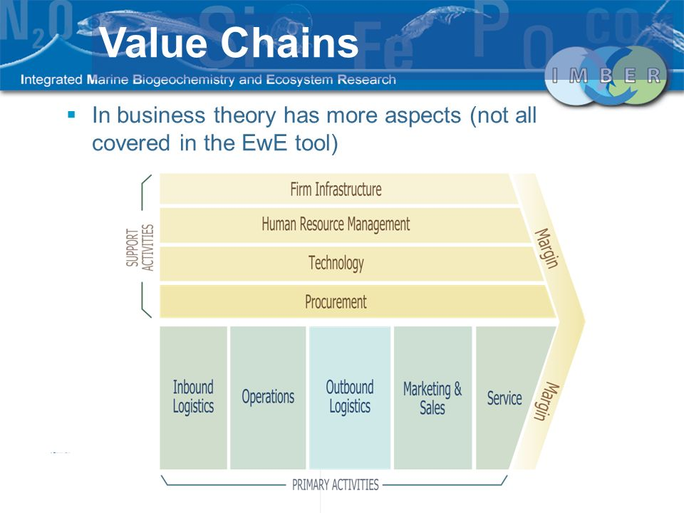 In business theory has more aspects (not all covered in the EwE tool) Value Chains