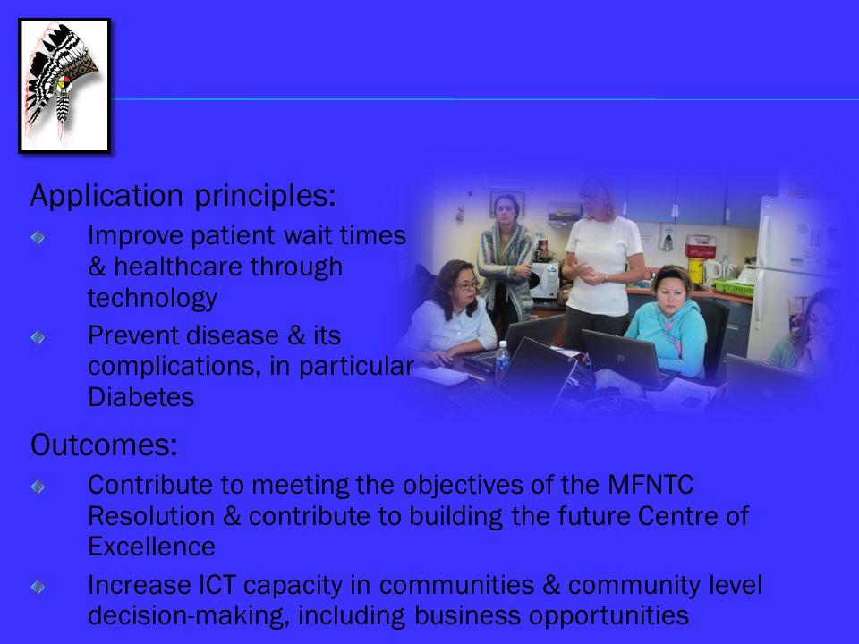 Application principles: Improve patient wait times & healthcare through technology Prevent disease & its complications, in particular Diabetes Outcome
