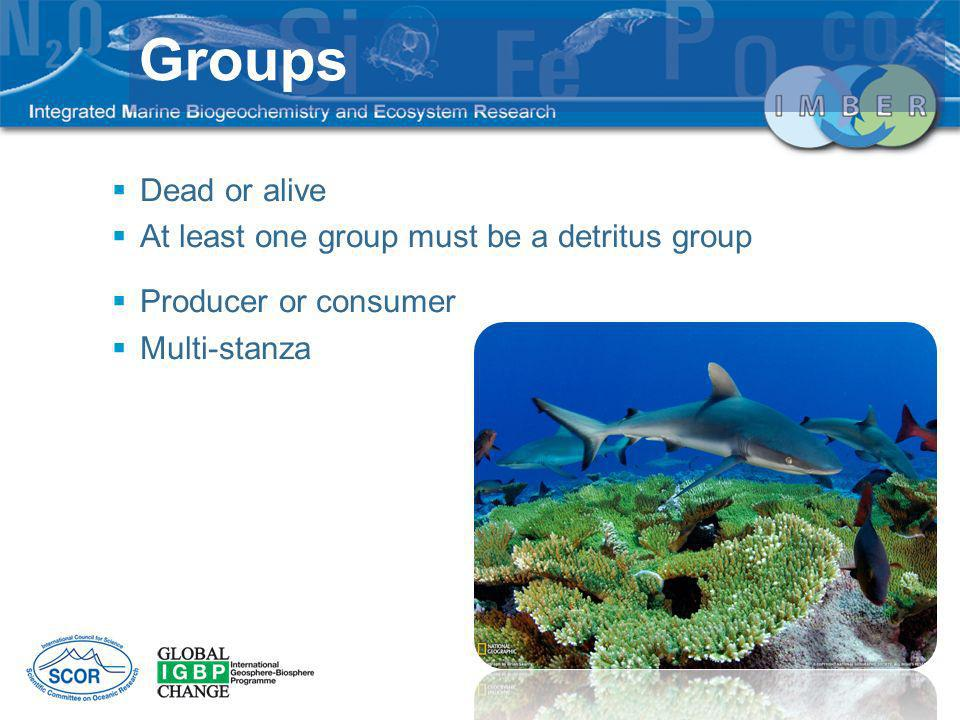 Dead or alive At least one group must be a detritus group Producer or consumer Multi-stanza Groups