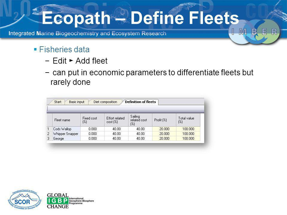 Fisheries data Edit Add fleet can put in economic parameters to differentiate fleets but rarely done Ecopath – Define Fleets