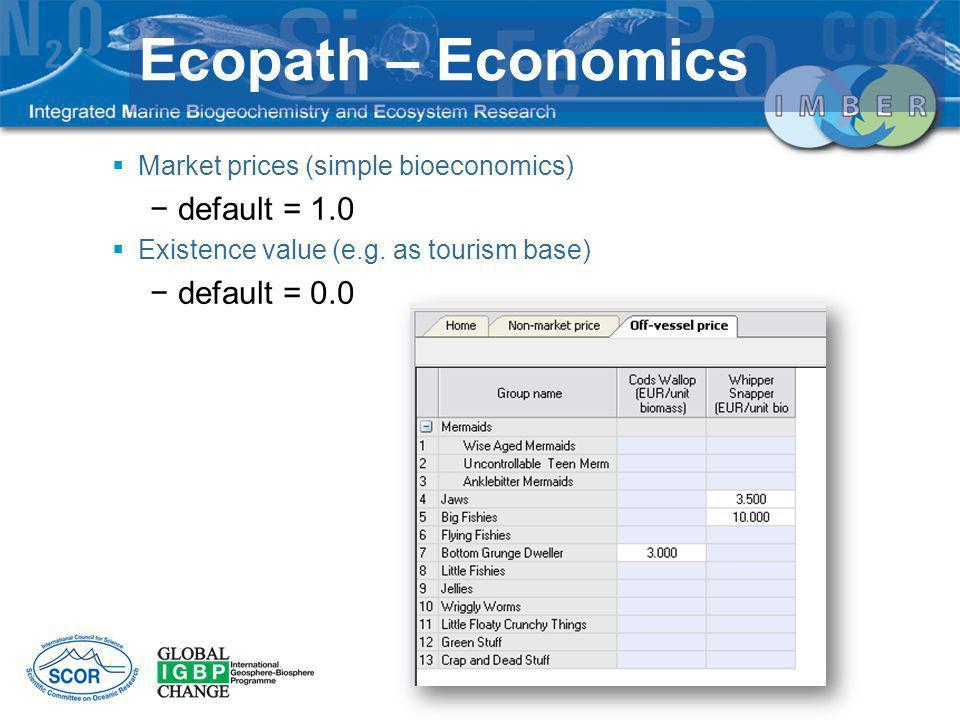 Ecopath – Economics Market prices (simple bioeconomics) default = 1.0 Existence value (e.g. as tourism base) default = 0.0