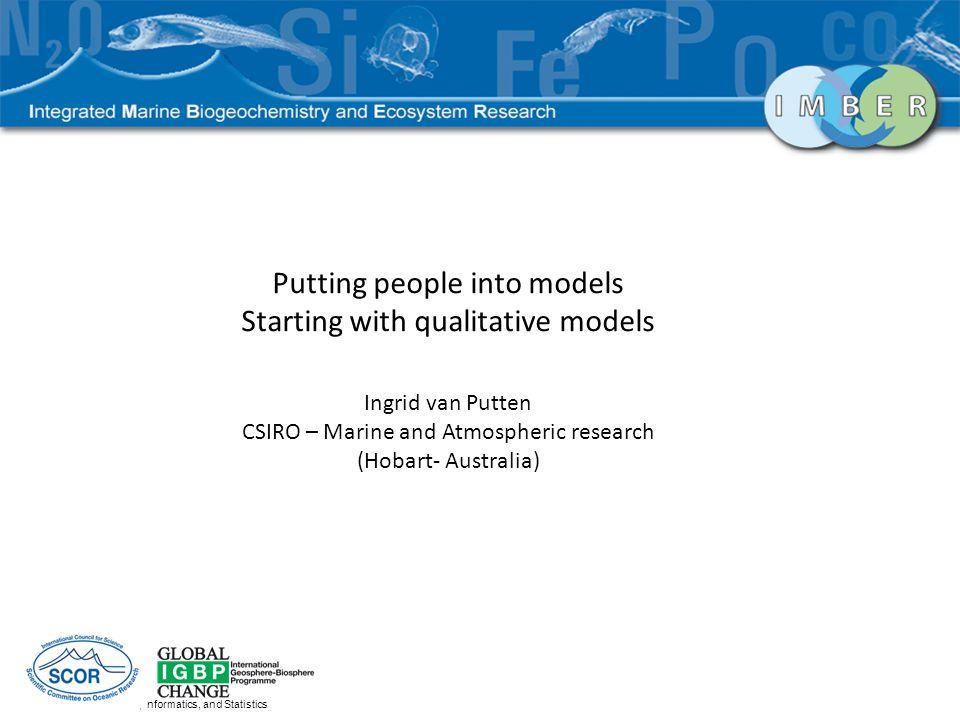 CSIRO Mathematics, Informatics, and Statistics Putting people into models Starting with qualitative models Ingrid van Putten CSIRO – Marine and Atmosp