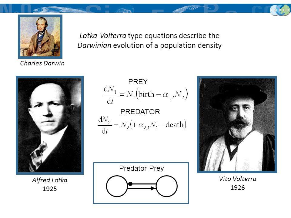 Alfred Lotka 1925 Vito Volterra 1926 PREY PREDATOR Predator-Prey Lotka-Volterra type equations describe the Darwinian evolution of a population densit