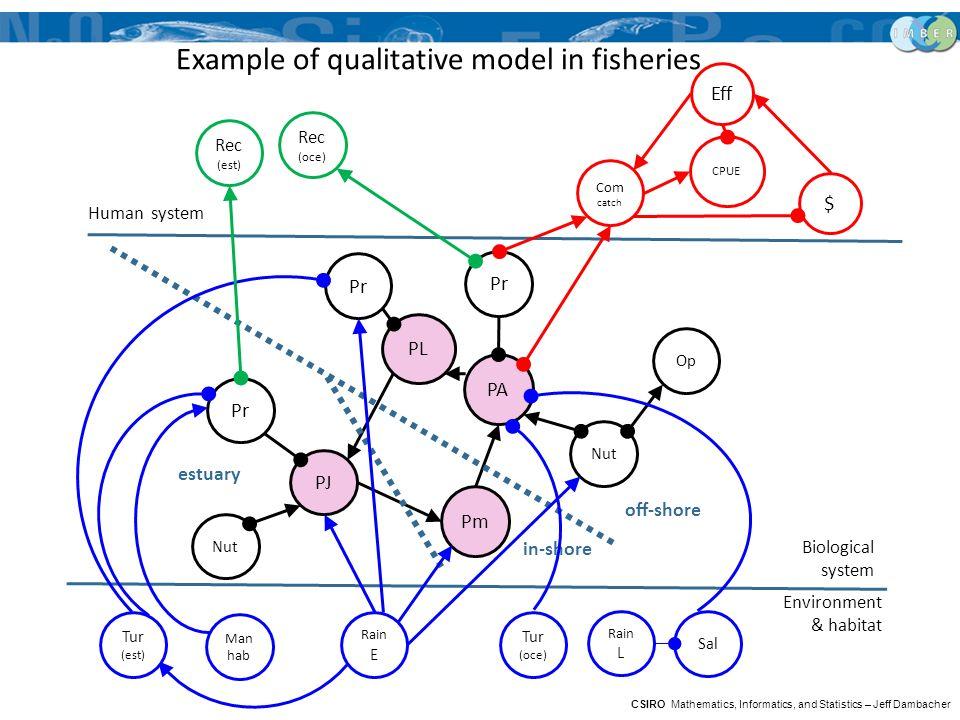 Human system PL PA PJ Pm Pr Nut Op Pr off-shore in-shore estuary Example of qualitative model in fisheries Com catch CPUE Eff $ Environment & habitat