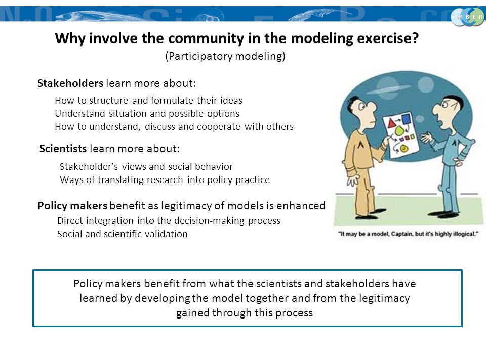(Participatory modeling) Stakeholders learn more about: How to structure and formulate their ideas Understand situation and possible options How to un