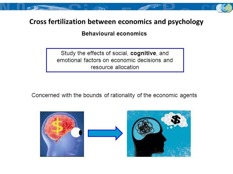 Cross fertilization between economics and psychology Behavioural economics Study the effects of social, cognitive, and emotional factors on economic d