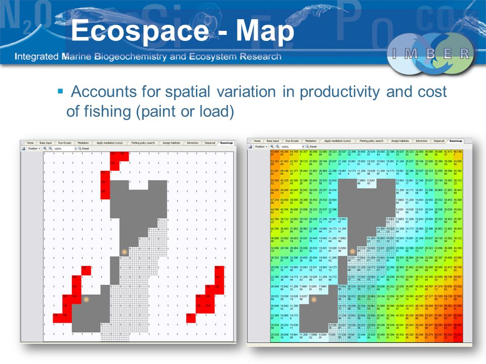 Accounts for spatial variation in productivity and cost of fishing (paint or load) Ecospace - Map