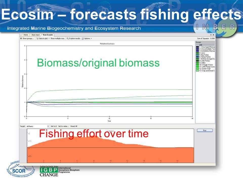 Fishing effort over time Biomass/original biomass Ecosim – forecasts fishing effects