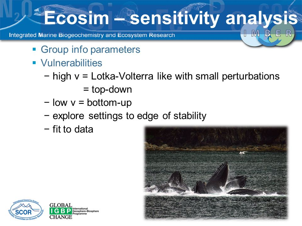 Group info parameters Vulnerabilities high v = Lotka-Volterra like with small perturbations = top-down low v = bottom-up explore settings to edge of s