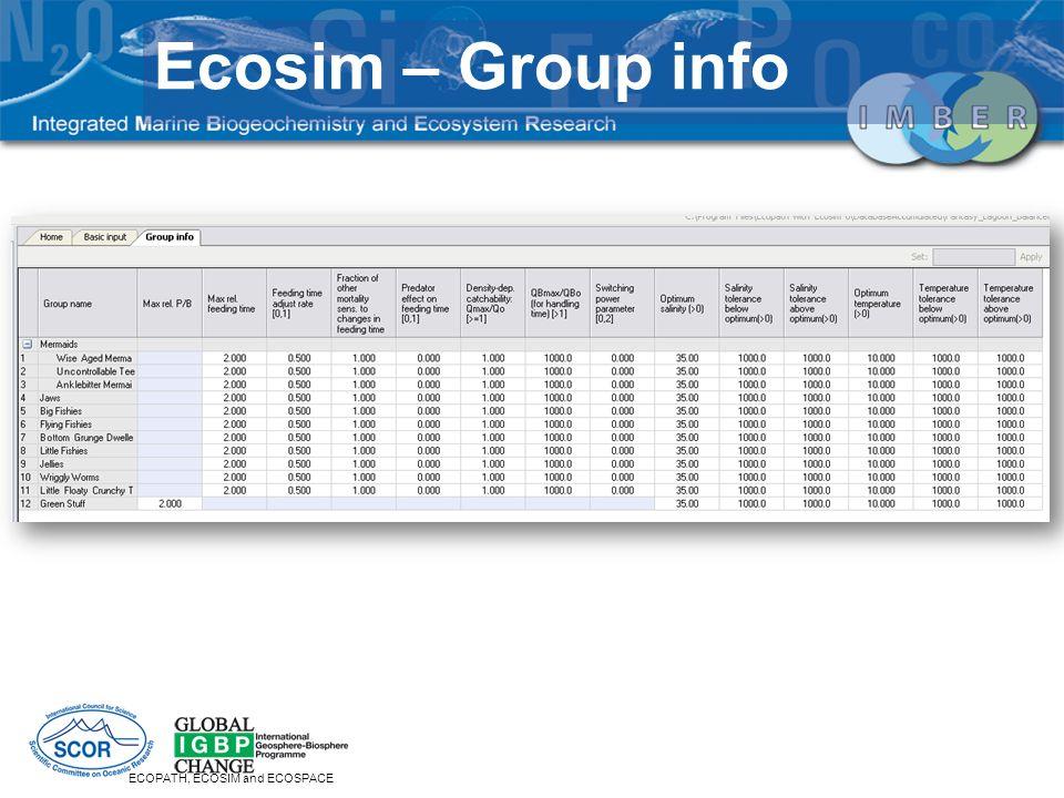ECOPATH, ECOSIM and ECOSPACE Ecosim – Group info
