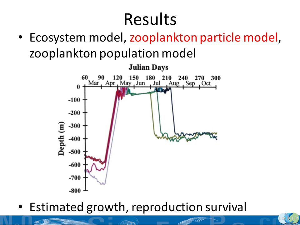 Results Ecosystem model, zooplankton particle model, zooplankton population model Estimated growth, reproduction survival