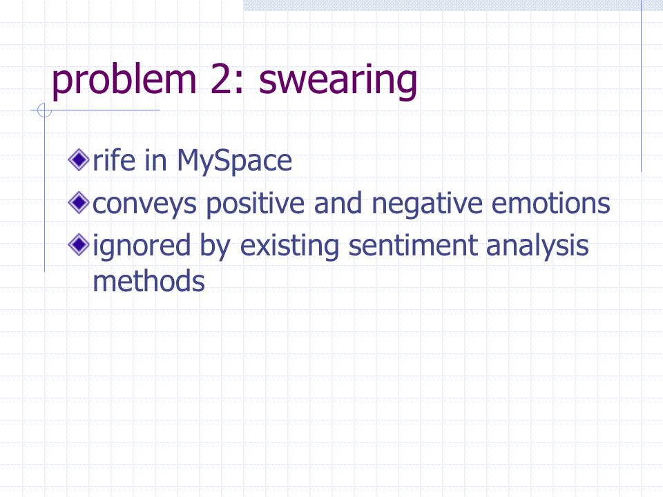 problem 2: swearing rife in MySpace conveys positive and negative emotions ignored by existing sentiment analysis methods
