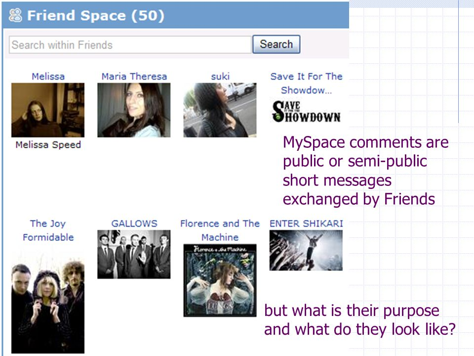 MySpace comments are public or semi-public short messages exchanged by Friends but what is their purpose and what do they look like?