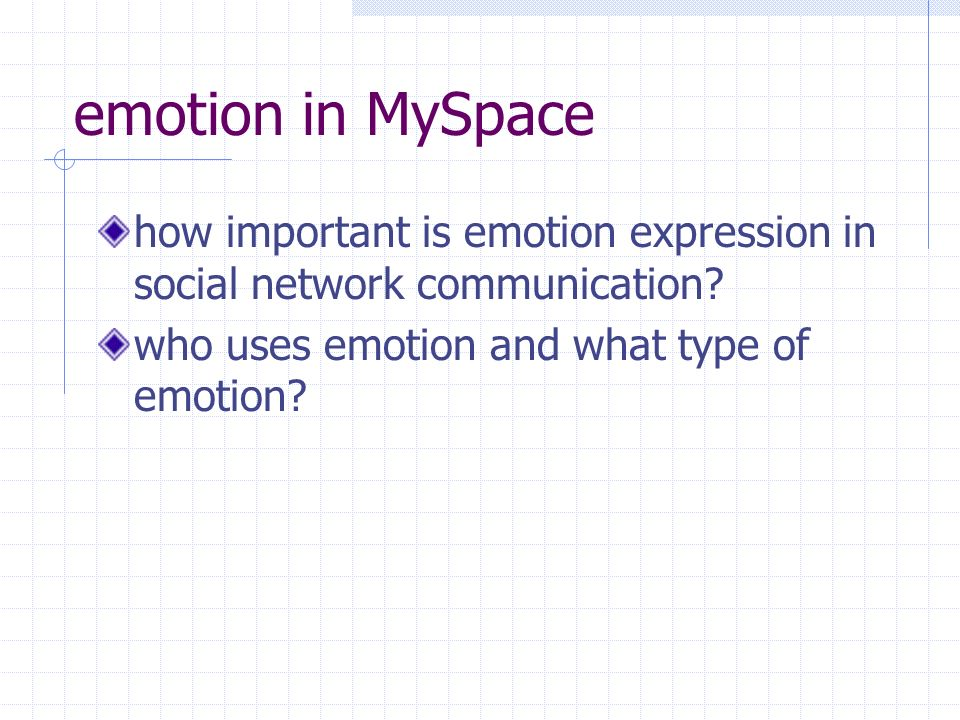 emotion in MySpace how important is emotion expression in social network communication.