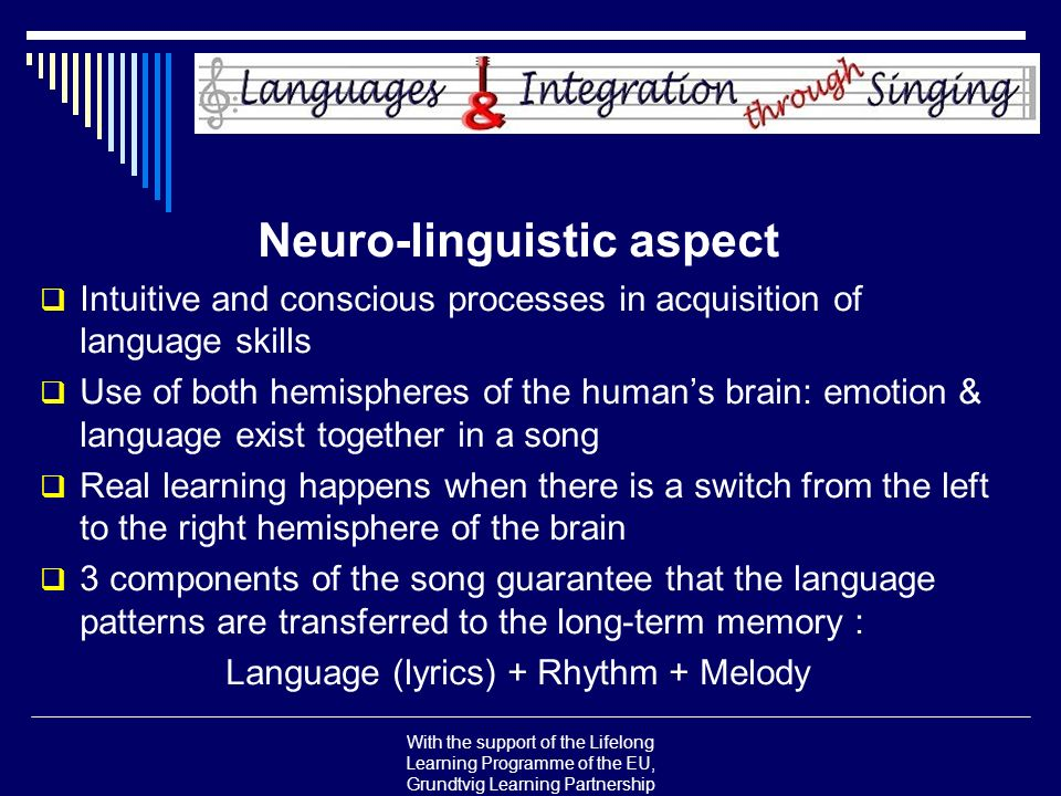 With the support of the Lifelong Learning Programme of the EU, Grundtvig Learning Partnership Neuro-linguistic aspect Intuitive and conscious processe