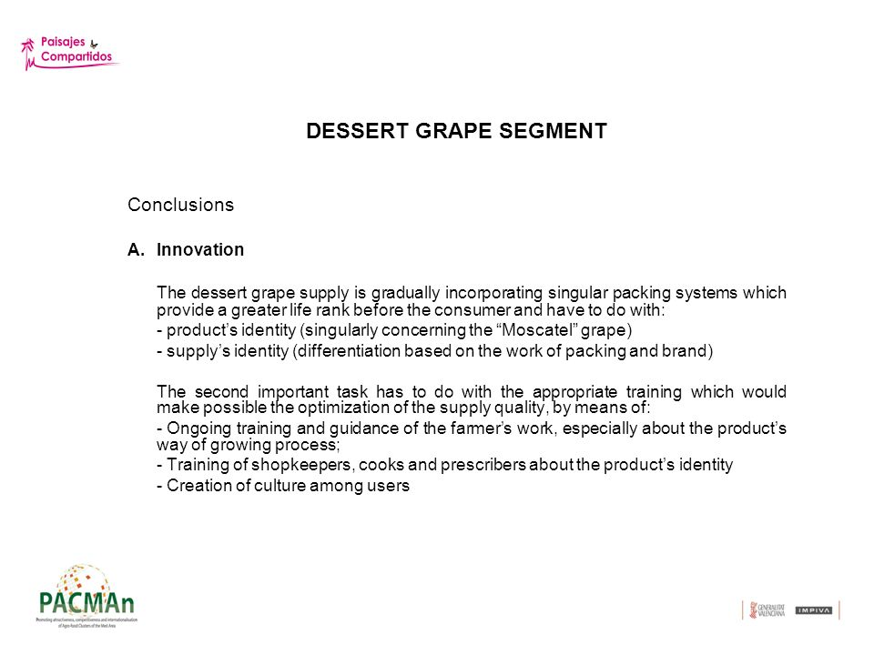 DESSERT GRAPE SEGMENT Conclusions (2) B.Networking Inter-cooperation mechanisms among value chains agents were identified because they make possible an optimization of the information and knowledge management: -Creation of an on-line community C.Internationalization The perfecting of platforms of internationalization promotion demands: -The consolidation of the identity of the product and of the supply (brand) -The emulation (benchmarking) of the actions initiated by lead firms -The selection of strategic partners in third countries