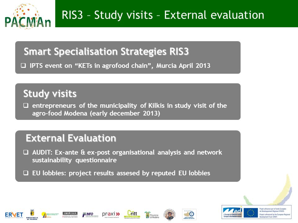 RIS3 – Study visits – External evaluation Smart Specialisation Strategies RIS3 IPTS event on KETs in agrofood chain, Murcia April 2013 entrepreneurs of the municipality of Kilkis in study visit of the agro-food Modena (early december 2013) Study visits AUDIT: Ex-ante & ex-post organisational analysis and network sustainability questionnaire EU lobbies: project results assesed by reputed EU lobbies External Evaluation
