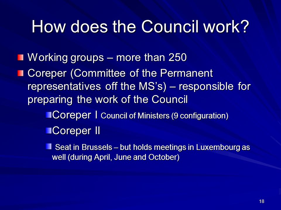 18 How does the Council work.