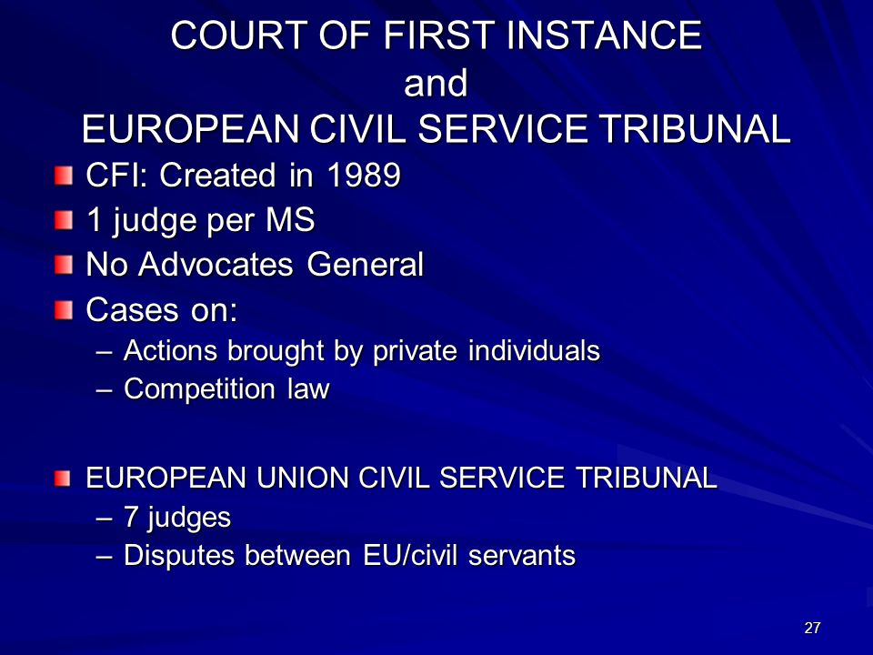 27 COURT OF FIRST INSTANCE and EUROPEAN CIVIL SERVICE TRIBUNAL CFI: Created in judge per MS No Advocates General Cases on: –Actions brought by private individuals –Competition law EUROPEAN UNION CIVIL SERVICE TRIBUNAL –7 judges –Disputes between EU/civil servants