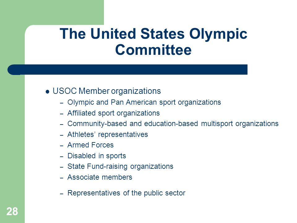28 The United States Olympic Committee USOC Member organizations – Olympic and Pan American sport organizations – Affiliated sport organizations – Com
