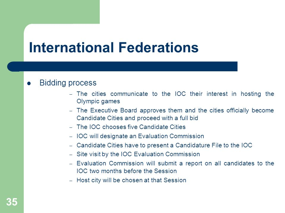35 International Federations Bidding process – The cities communicate to the IOC their interest in hosting the Olympic games – The Executive Board app