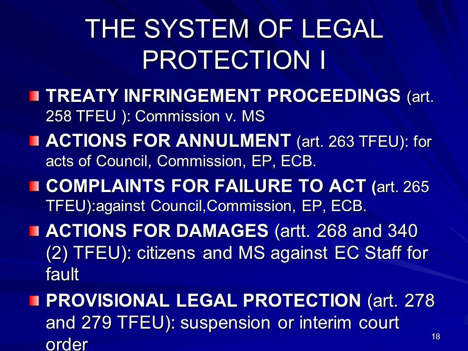18 THE SYSTEM OF LEGAL PROTECTION I TREATY INFRINGEMENT PROCEEDINGS (art.