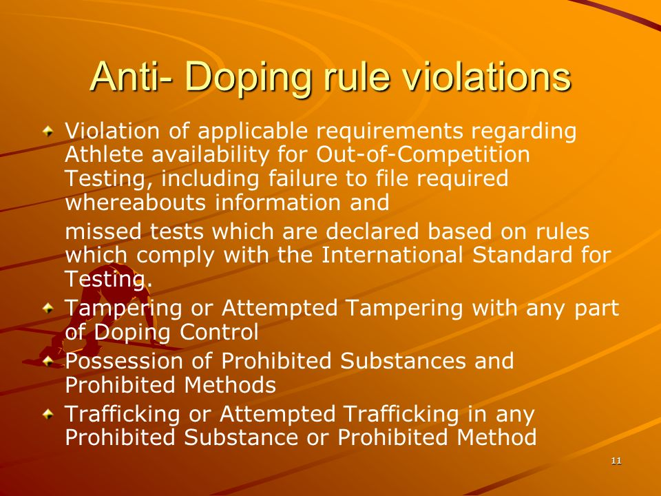 11 Anti- Doping rule violations Violation of applicable requirements regarding Athlete availability for Out-of-Competition Testing, including failure