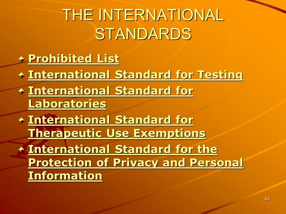 13 THE INTERNATIONAL STANDARDS Prohibited List Prohibited List International Standard for Testing International Standard for Testing International Sta
