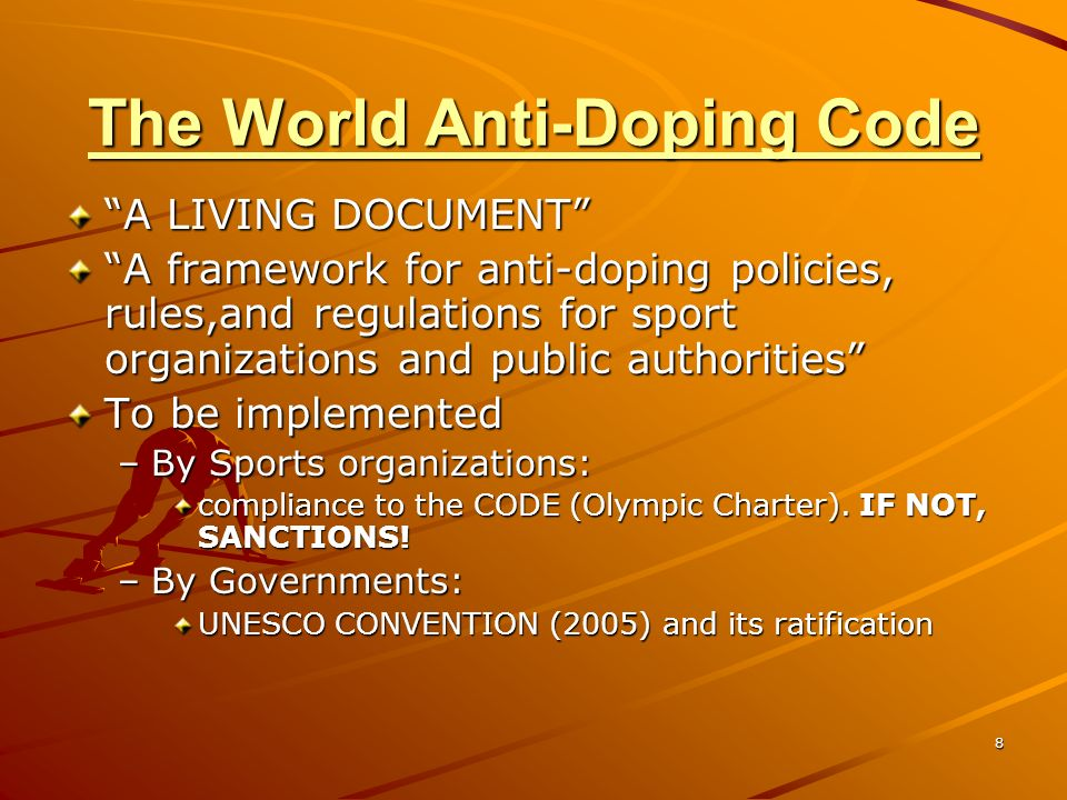 9 DEFINITION OF DOPING The occurrence of one or more of the anti-doping rule violations set forth in Article 2.1 through Article 2.8 of the Code