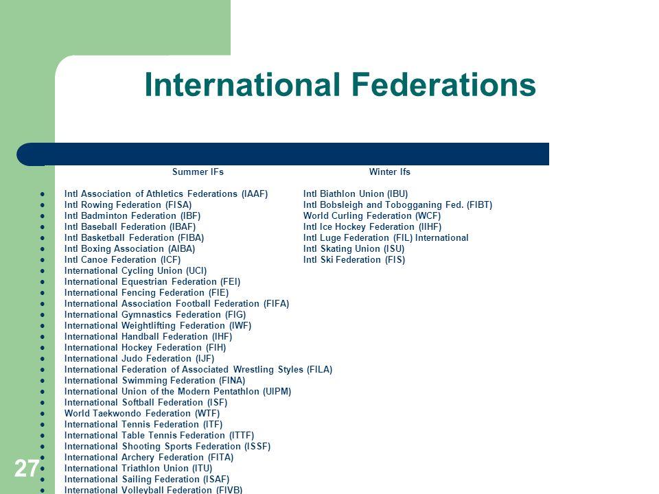 27 International Federations Summer IFs Winter Ifs Intl Association of Athletics Federations (IAAF) Intl Biathlon Union (IBU) Intl Rowing Federation (FISA) Intl Bobsleigh and Tobogganing Fed.