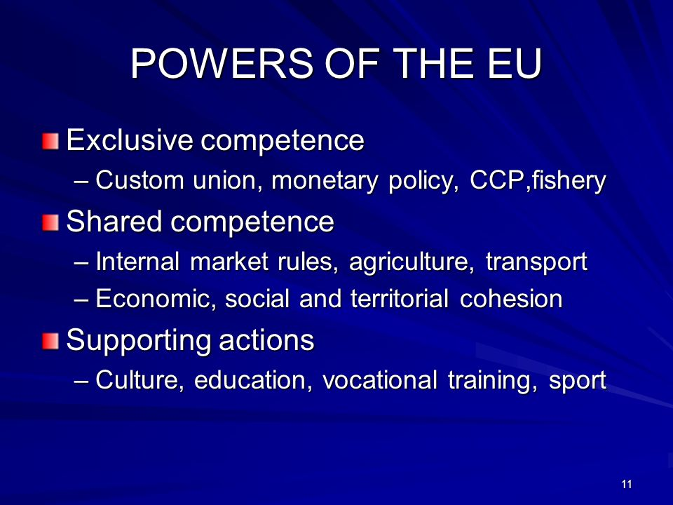 POWERS OF THE EU Exclusive competence –Custom union, monetary policy, CCP,fishery Shared competence –Internal market rules, agriculture, transport –Ec
