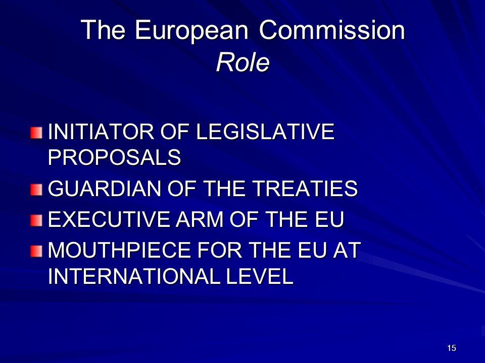 15 The European Commission Role INITIATOR OF LEGISLATIVE PROPOSALS GUARDIAN OF THE TREATIES EXECUTIVE ARM OF THE EU MOUTHPIECE FOR THE EU AT INTERNATI