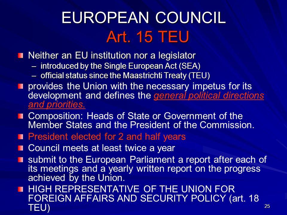 25 EUROPEAN COUNCIL Art. 15 TEU Neither an EU institution nor a legislator –introduced by the Single European Act (SEA) –official status since the Maa
